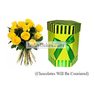 12 Yellow Roses Bunch And Hexagon Shaped Green Color Chocolate Box