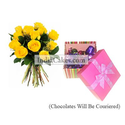 12 Yellow Roses Bunch And Pink Chocolate Box With Ribbon