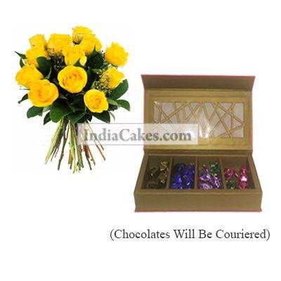 12 Yellow Roses Bunch And Pink Geometric Designer Chocolate Box