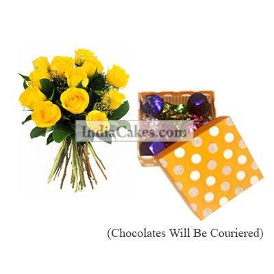 12 Yellow Roses Bunch And Polka Dot Orange And White Color Chocolate Box