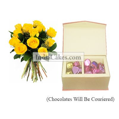 12 Yellow Roses Bunch And Red Color Velvet Finish Chocolate Box