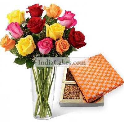 12 Mix Roses Bunch And Half Kg Dry Fruits