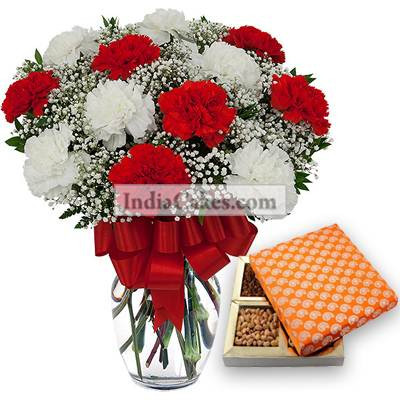 12 Red And White Carnation Bunch And Half Kg Dry Fruits