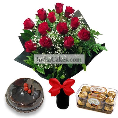 12 Red Roses Bunch And Half Kg Chocolate Cake With 16 Ferrero Rocher Chocolates