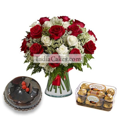 20 Red And White Roses Bunch And Half Kg Chocolate Cake With 16 Ferrero Rochers Chocolates