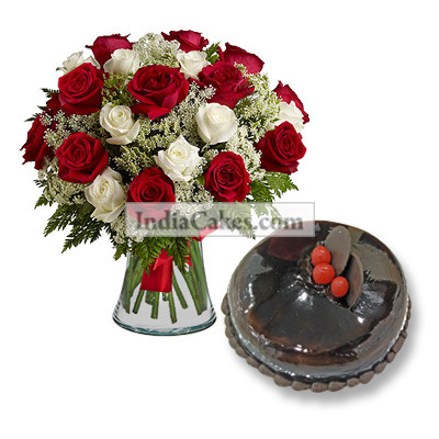 20 Red And White Roses Bunch And Half Kg Chocolate Cake