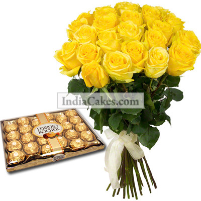 20 Yellow Roses Bunch And 24 Ferrero Rocher Chocolates