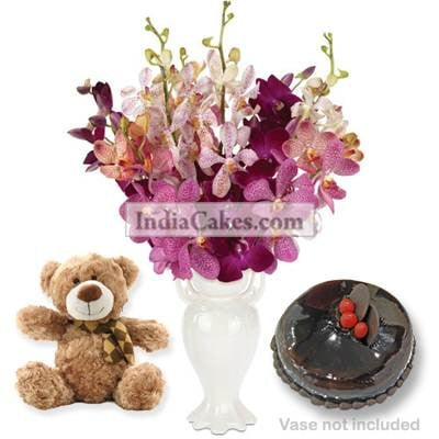 6 Orchids Bunch And Half Kg Chocolate Cake With 6 Inch Teddy