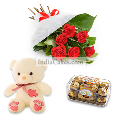 12 Red Roses Bunch, 6 Inch Teddy and 16 Ferrero Rochers Chocolates