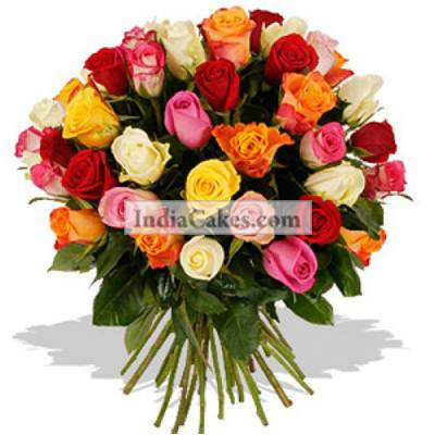 Hand Bunch of 70 Long Stem Mix Color Roses