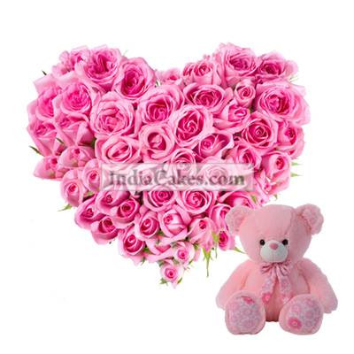 Heart Shaped Arrangement Of 35 Lovely Pink Roses And Teddy Bear