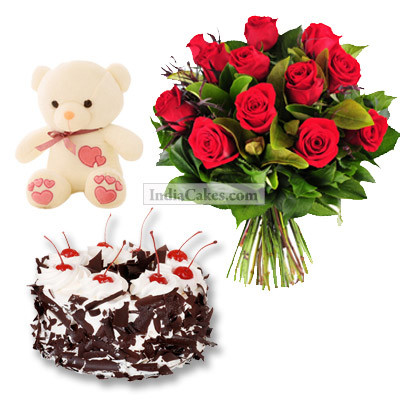 12 Red Roses Bunch, 6 Inch Teddy And Half Kg Black Forest Cake