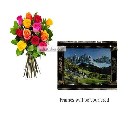 12 Mix Roses Bunch And Big Photo Frame 4