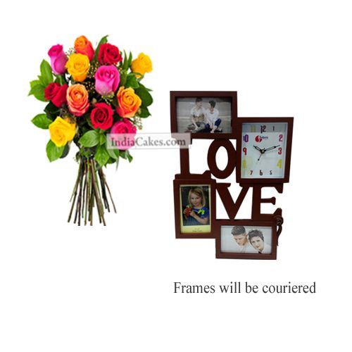 12 Mix Roses Bunch And Designer Photo Frame 1