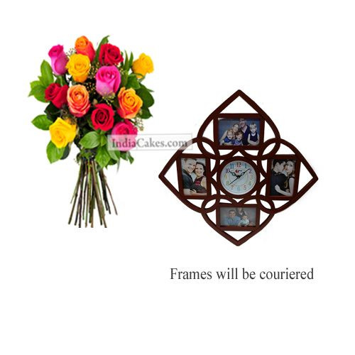 12 Mix Roses Bunch And Designer Photo Frame 6