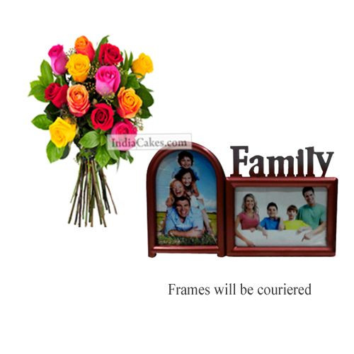12 Mix Roses Bunch And Family Photo Frame 2