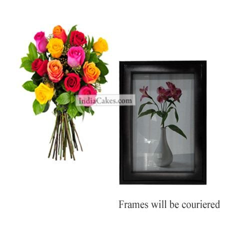12 Mix Roses Bunch And Photo Frame 1