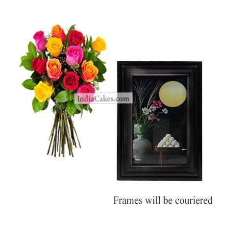 12 Mix Roses Bunch And Photo Frame 5