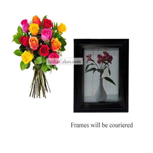 12 Mix Roses Bunch And Photo Frame 6