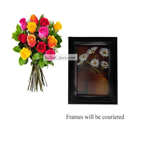 12 Mix Roses Bunch And Photo Frame 8