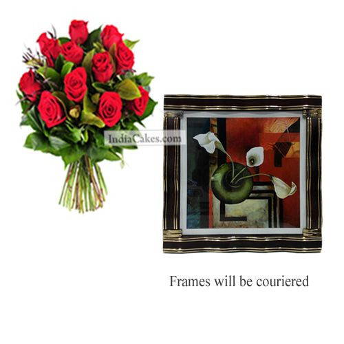 12 Red Roses Bunch And Big Photo Frame 2