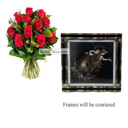 12 Red Roses Bunch And Big Photo Frame 3