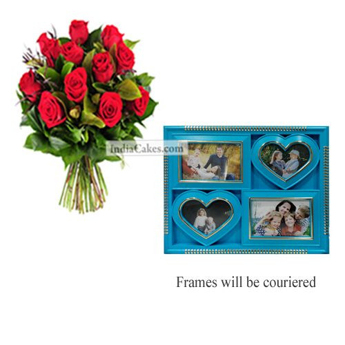 12 Red Roses Bunch And Designer Photo Frame 2