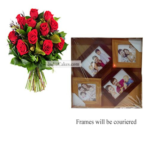 12 Red Roses Bunch And Designer Photo Frame 3