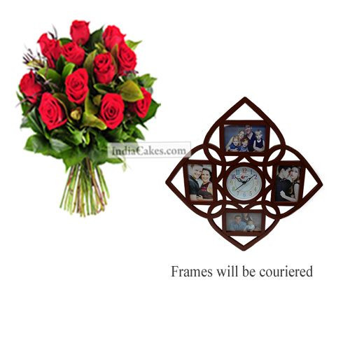 12 Red Roses Bunch And Designer Photo Frame 6