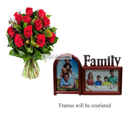 12 Red Roses Bunch And Family Photo Frame 2