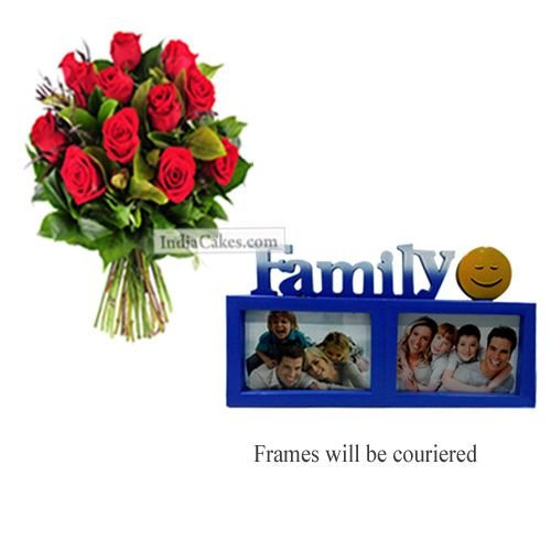 12 Red Roses Bunch And Family Photo Frame 3