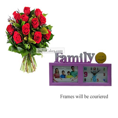 12 Red Roses Bunch And Family Photo Frame 4
