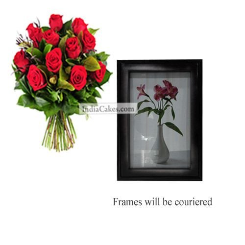 12 Red Roses Bunch And Photo Frame 1
