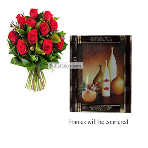 12 Red Roses Bunch And Photo Frame 3