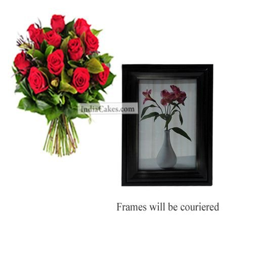 12 Red Roses Bunch And Photo Frame 6