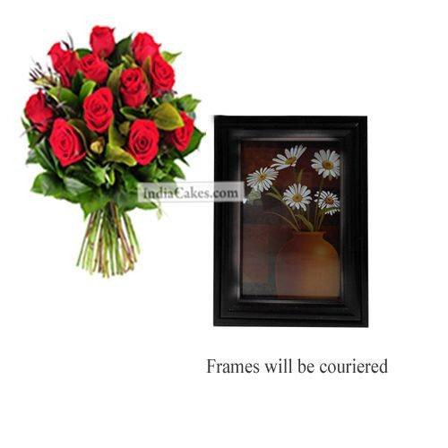 12 Red Roses Bunch And Photo Frame 8