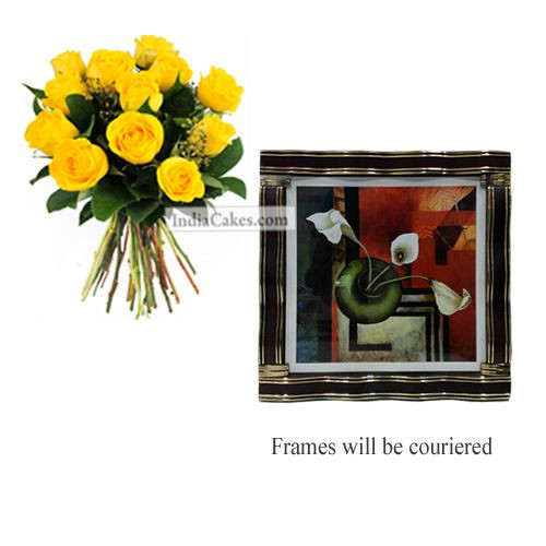 12 Yellow Roses Bunch And Designer Photo Frame 2