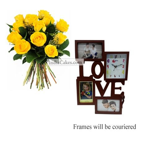 12 Yellow Roses Bunch And Designer Photo Frame 1