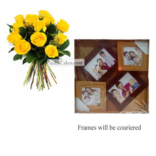 12 Yellow Roses Bunch And Designer Photo Frame 3
