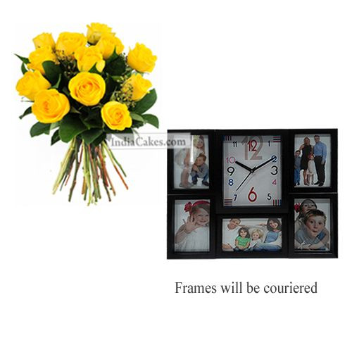 12 Yellow Roses Bunch And Designer Photo Frame 5
