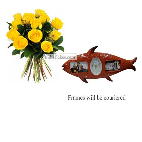 12 Yellow Roses Bunch And Designer Photo Frame 7