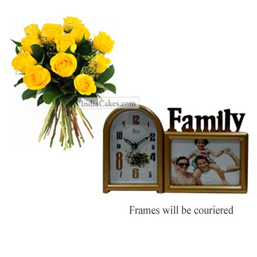 12 Yellow Roses Bunch And Family Photo Frame 1