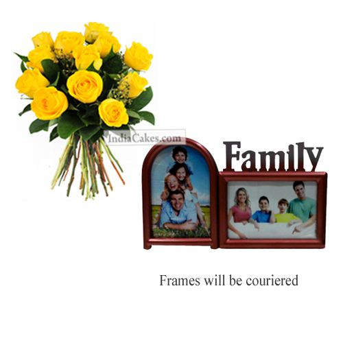 12 Yellow Roses Bunch And Family Photo Frame 2