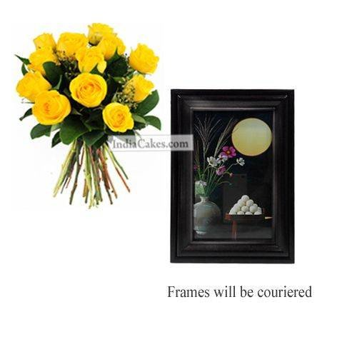 12 Yellow Roses Bunch And Photo Frame 5