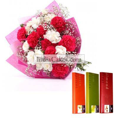 10 Pink and White Carnations Bunch And 3 Cadbury Temptation Chocolates