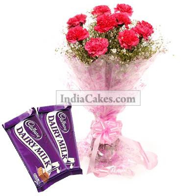 10 Pink Carnations Bunch And 2 Cadbury Dairy Milk Silk Chocolate