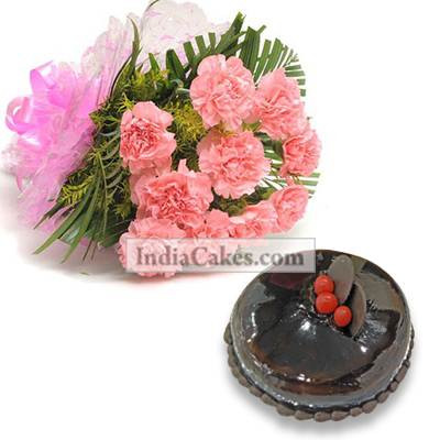 10 Pink Carnations Bunch And Half Kg Chocolate Cake