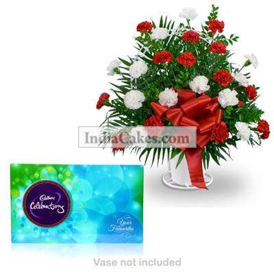 10 Red and White Carnations Bunch And Cadbury Celebrations Box