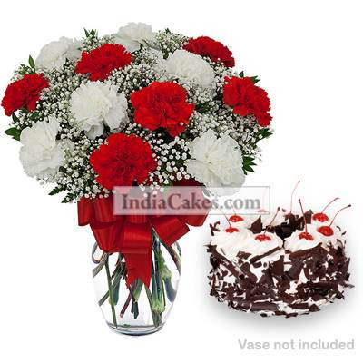 10 Red And White Carnations Bunch And Half Kg Black Forest Cake