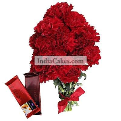 10 Red Carnations Bunch And 2 Cadbury Temptation
